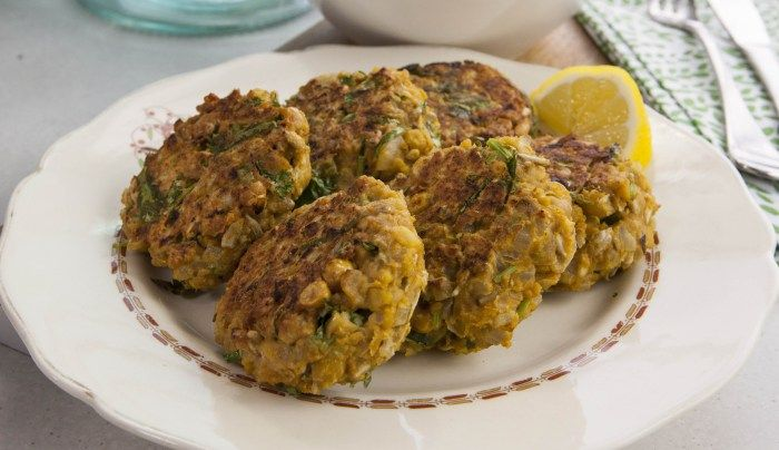 Smashed Curried Chickpea Cakes