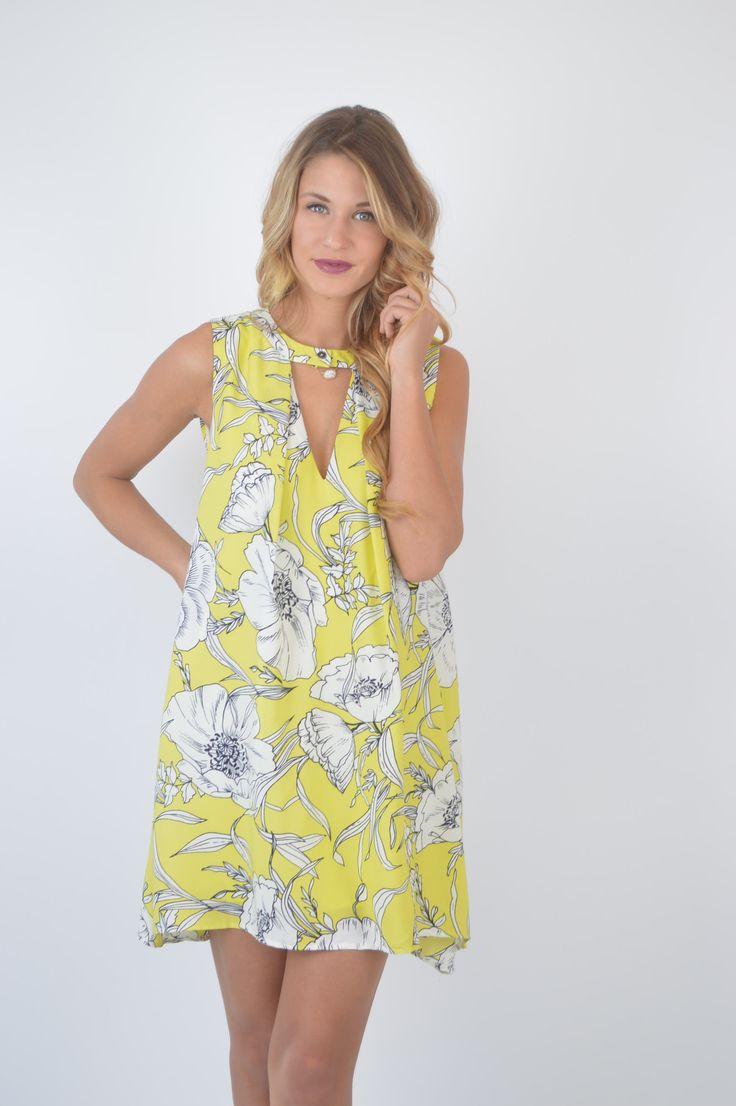 Remi Bright Yellow Dress Foi Clothing Keyhole Neckline