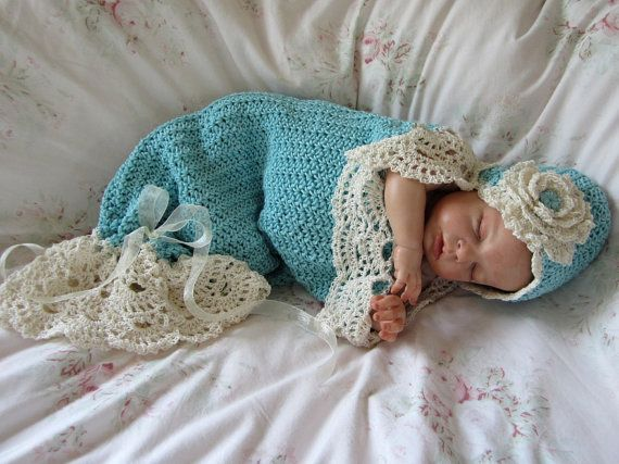 Free Knitting Pattern Baby Cocoon And Hat : Crochet Baby Cocoon and Hat Pattern Photo Prop Pattern Seaside Cottage Snuggl...