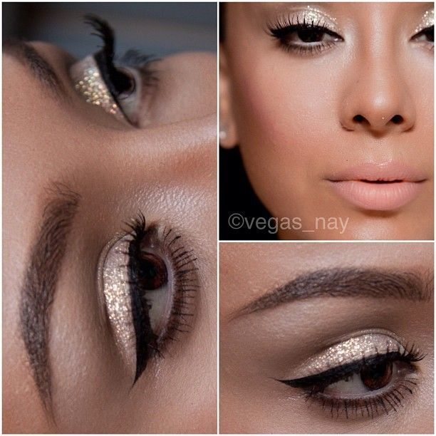 1.) prime eye w/ UD primer potion, then apply urban decay NAKED in crease and blend. 2.) urban decay VIRGIN on brow bone 3.) mix Sally girl gel adhesive (equal parts) w/ too faced glamour dust in BLUE ANGEL  apply all over lid with a pencil brush 4.) NYC liquid liner w/ salon perfect wispies lashes 5.) Mac fascinating eye kohl pencil on waterline 6.) wearing @Mártai Mariann liquid foundation and set with pressed foundation and contoured w/ their pressed foundati.
