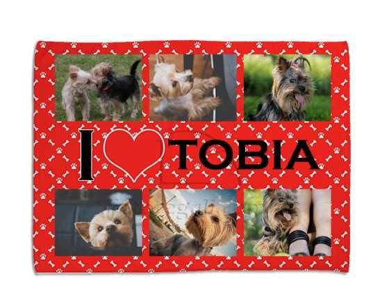 Coperta per cani I love collage