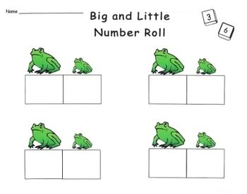 Four seasonal math games helping students build number sense. Can be played alone, with a partner or in groups. Students shake two dice and record the higher numeral in the box under the larger picture and the smaller numeral under the smaller picture.