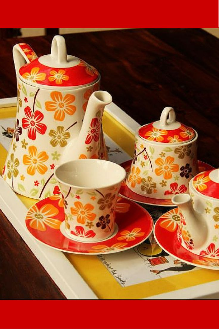 This vibrant tea set would draw a lot of attention from your guests for its vibrance and beauty. The bright red saucers and the white cups complement each other. The multicoloured flowers bring out the beauty of the cups and pots. The product is crafted impeccably by the stone artists from Khurja in Uttar Pradesh.