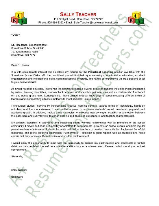 preschool teacher cover letter sample - Cover Letter For Teacher Position