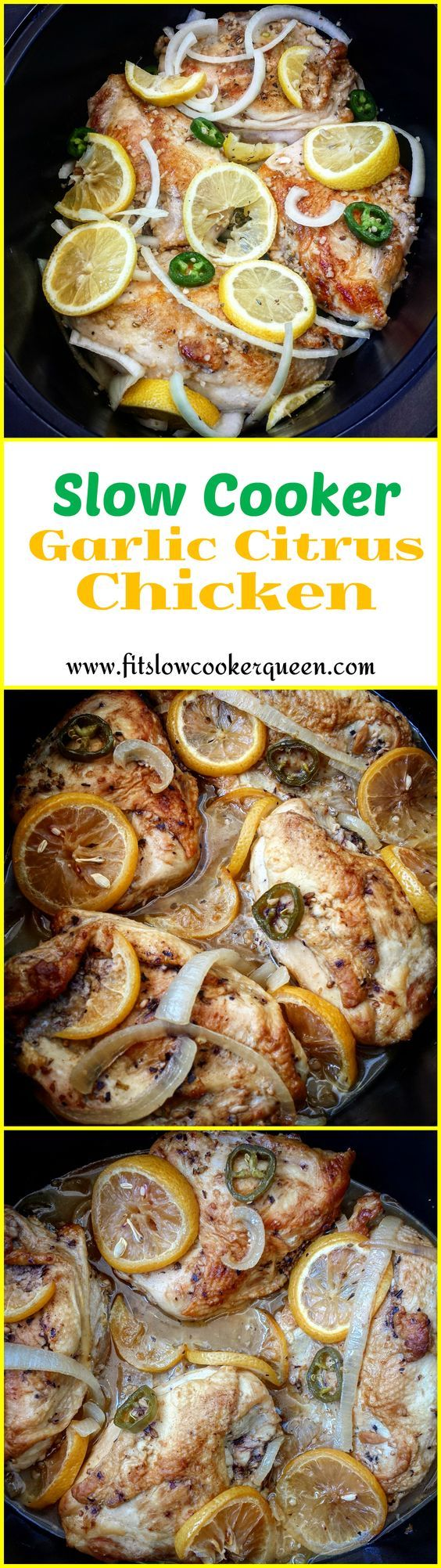 Jalapenos add a little heat to this Cuban mojo (garlic citrus marinade) inspired crock-pot dish. This slow cooker meal can be made with chicken or pork.