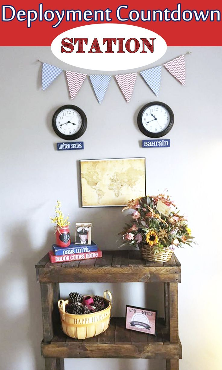 Great way to count down the days until your loved ones get home. A military deployment countdown station!