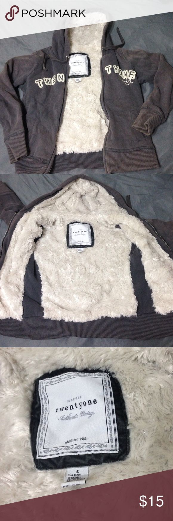 Faux fur lined forever 21 grey zip up jacket Super comfy and super cozy faux fur lined jacket. Good condition. Sleeves are slightly faded Forever 21 Jackets & Coats