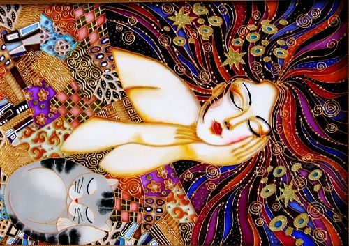 """In The Dreamworld"" Stained Glass Painting ~ by St. Petersburg artist Iris"