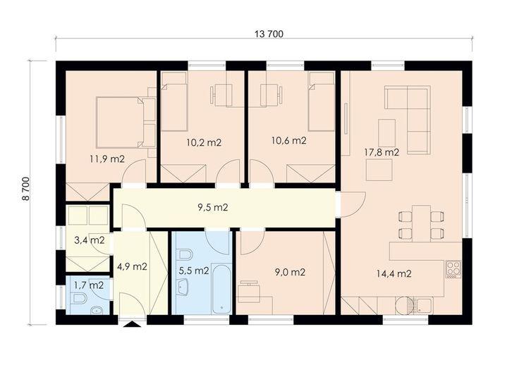 Projekt bungalovu 5+kk, s maximálně využitou plochou, 807 | Zděné rodinné domy | Projekty domů cz