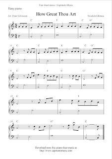 Free Sheet Music Scores: Free easy piano sheet music, How Great Thou Art