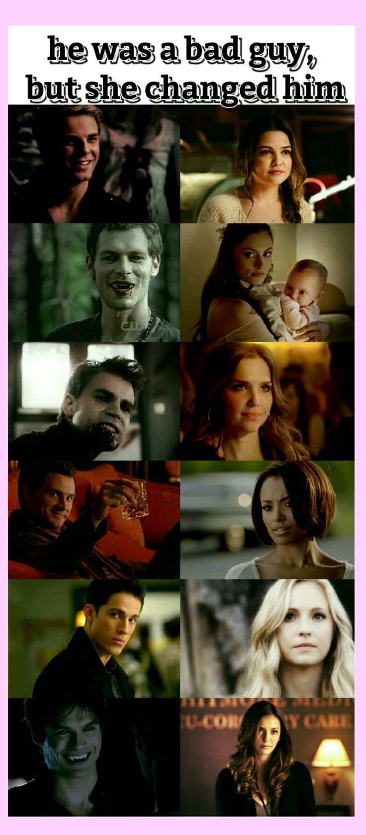 The vampire diaries and the originals couples relatable bad guy and good girl