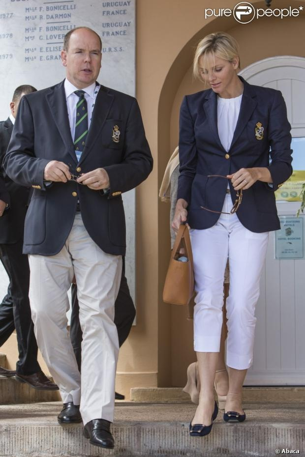 HSH Prince Albert and Charlene attend the Masters Tennis match 4/20/2013