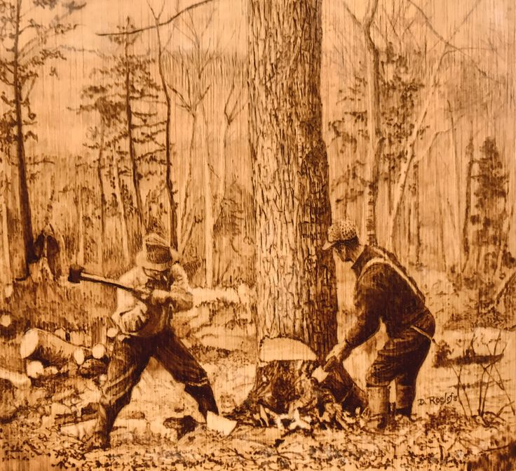 Loggers Felling a Tree This is a pyrography piece I did on thin plywood.