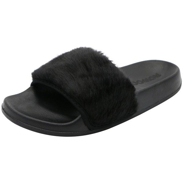 Rowoo Women Slip on Faux Fur Trim Flat Slipper Sandals (860 PHP) ❤ liked on Polyvore featuring shoes, flat footwear, pull on shoes, wide fit shoes, wide flat shoes and slip-on shoes