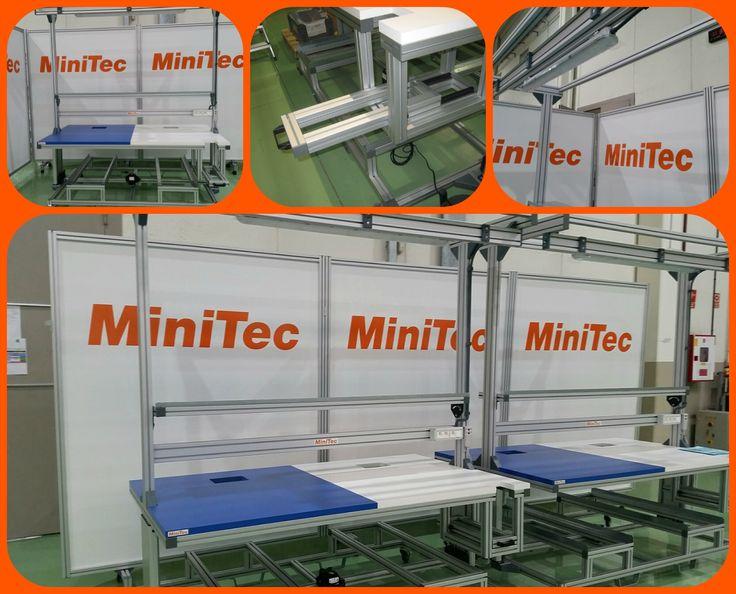 Bancada de trabajo con regulación de altura en perfiles de aluminio y accesorios MiniTec.