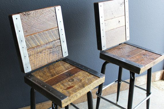 2 Industrial stools with backs made with old reclaimed barn wood--I like the way the seat and backs are done with these