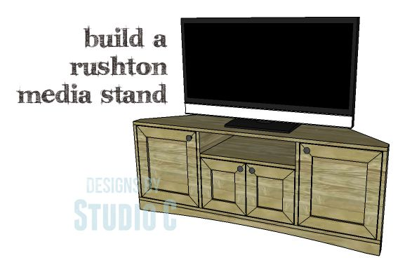 DIY Plans to Build a Rushton Media Stand If space is limited, corner furniture is always an option! The DIY plans to build a Rushton Media Stand feature two outer cabinets with doors, a center cabi...