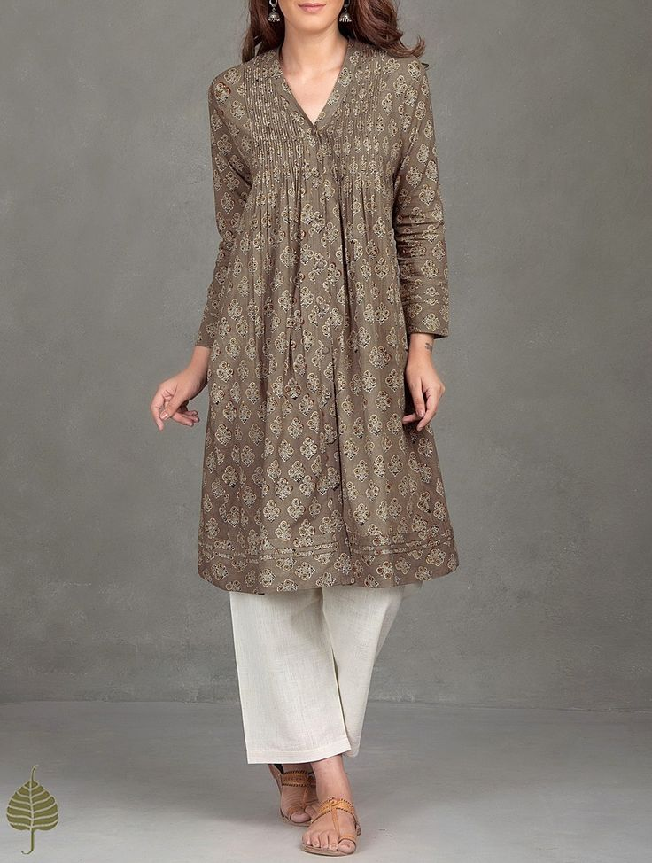 Buy Taupe Madder Black Brown Ajrak Printed Pleated Cotton Kurta Women Kurtas Ajrakh Essentials Dresses and more Online at Jaypore.com