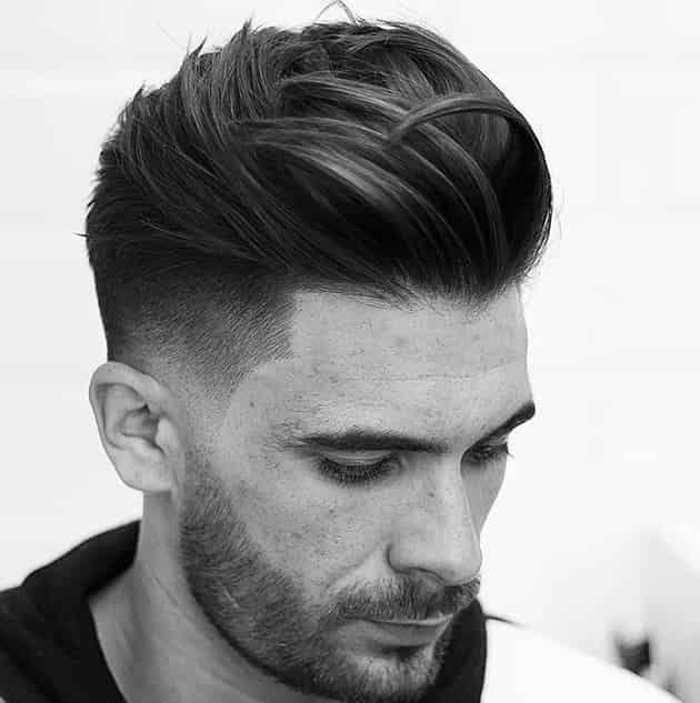 Medium Back Comb Hairstyle Mid Fade Haircut Mens Haircuts Medium Thick Hair Styles