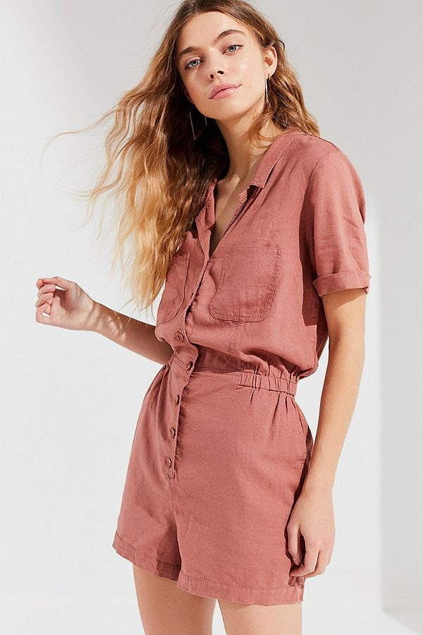 63ae9fd66392 UO Out + About Linen Shirt Romper