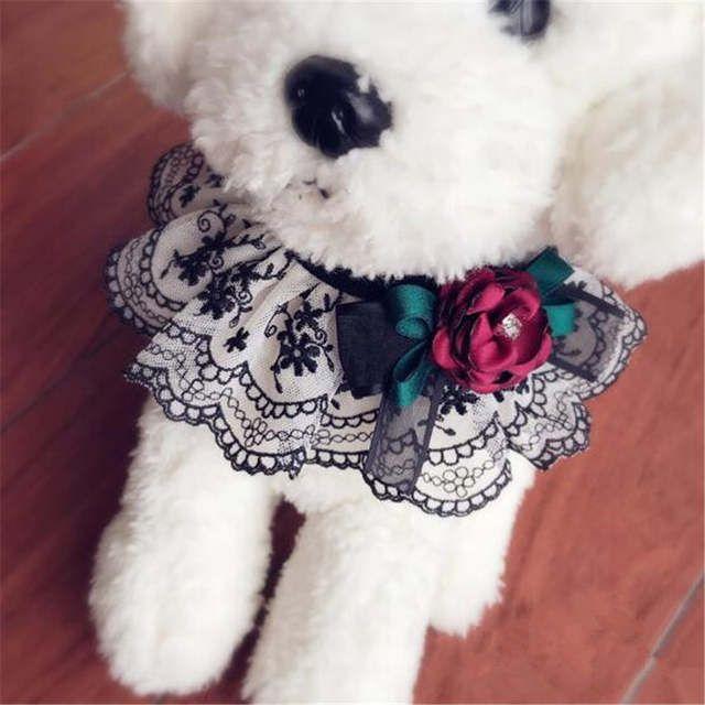 OnnPnnQ Collar de corbata de moño para mascotas Collares hechos a mano para perros Collar de decoración de flores grandes rojas