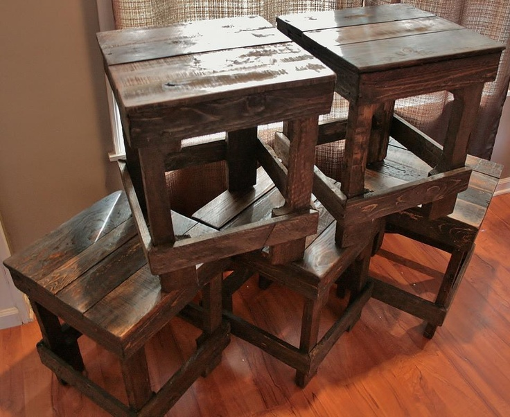Small pallet bar stools by upcycled woodworks grand rapids for Stools made from pallets