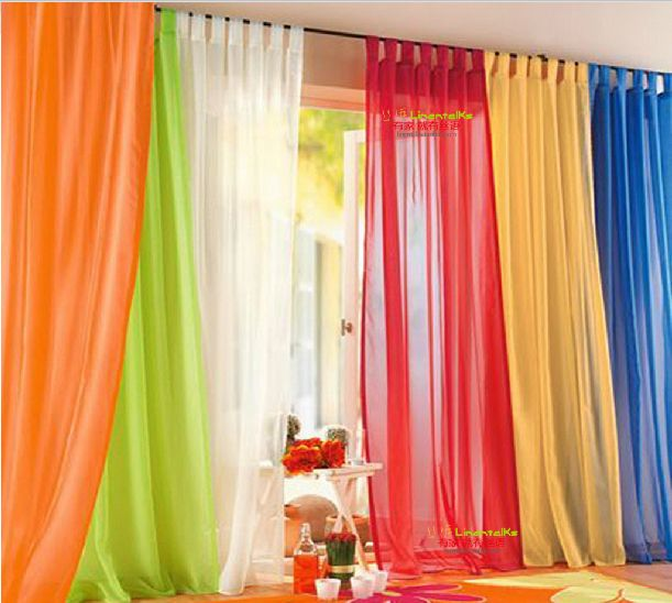 Hot sale 1m*2.5m cheap sheer curtain short curtain tulle curtain 20 kinds of color voile curtains free shipping
