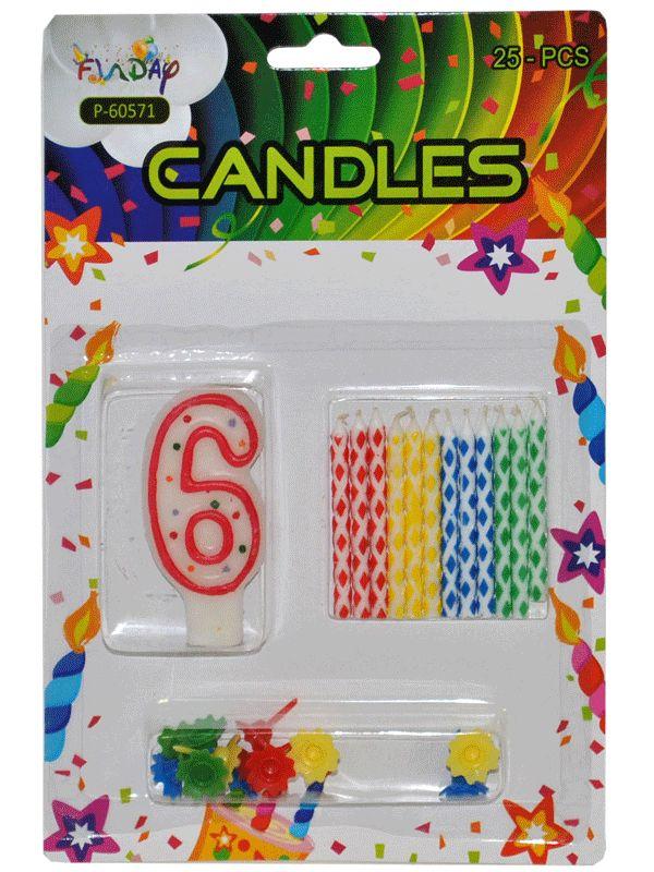 Verjaardag kaarsen set nummer 6. Deze kaarsen prikt u bijvoorbeeld in een verjaardagstaart. U ontvangt een groot cijfer en 12 kleine gekleurde kaarsen. Inclusief prikker.