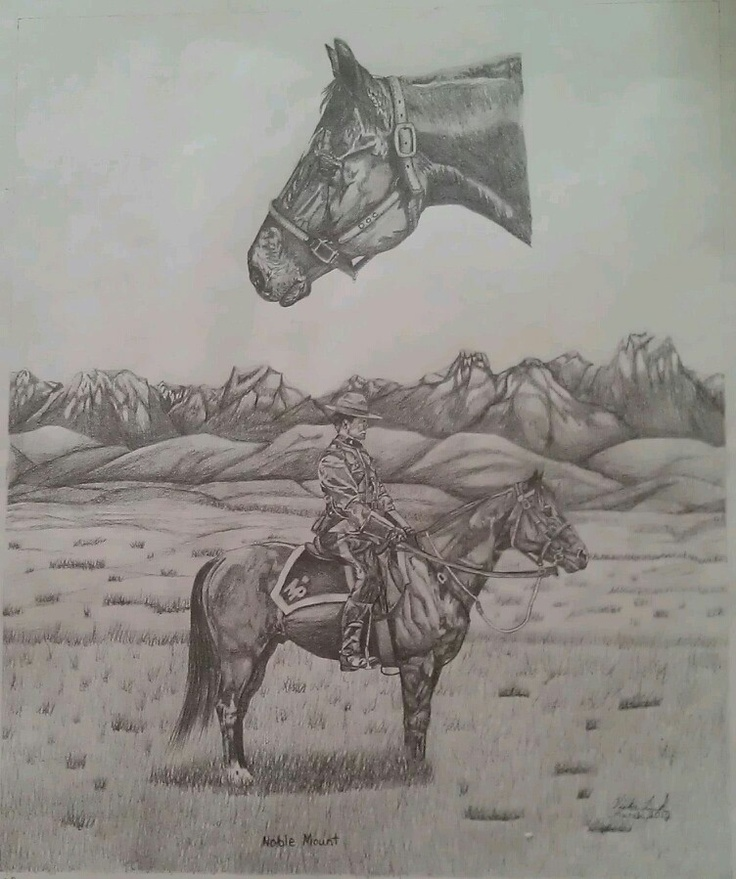 """Noble Mount""  Pencil art by Vicki Lind on Facebook"