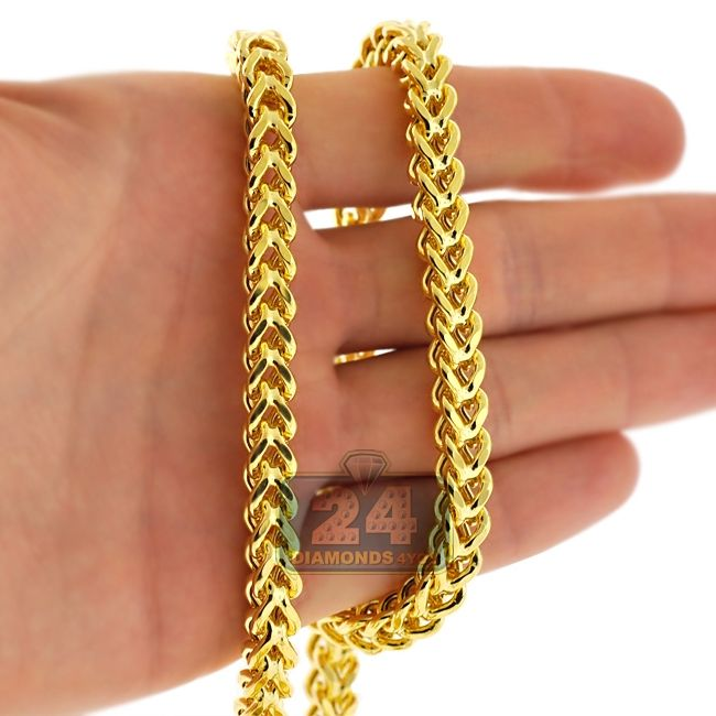 a2500099422a9 Heavy 14K Yellow Gold Franco Hollow Link Mens Chain 7 mm in 2019 ...
