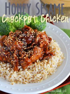 Honey Sesame Crock Pot Chicken from @Debra Hills Kitchen Meets Girl - This is super easy, and full of flavor. I had a bunch of buns that I needed to use up, so I shredded the chicken and used it to make sandwiches.  Super delicious!!