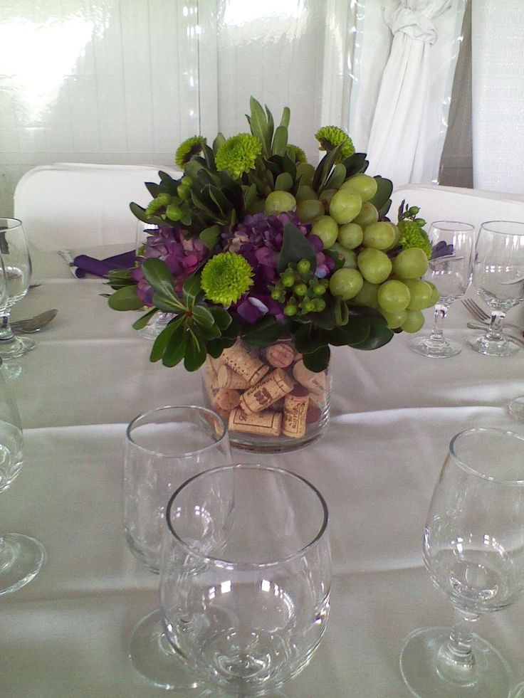 Cork Filled Centerpiece: Wine Themed Centerpiece