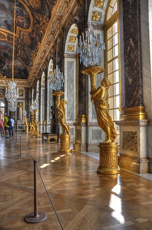 Mirror Hall - Palace of Versailles I once stood with my mouth open in the middle of this humongous room.