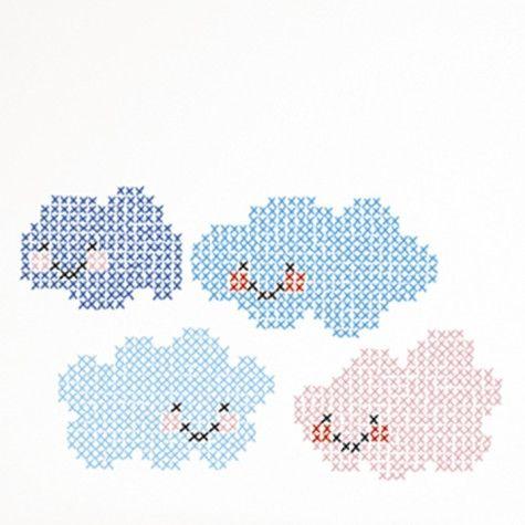 wall sticker (cross stitch cloud)