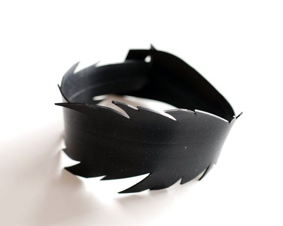 Innertube rubber feather bracelet handmade from black bicycle