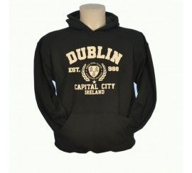 Pullover Hoodie with Dublin Capital City Print, Forest Green colour