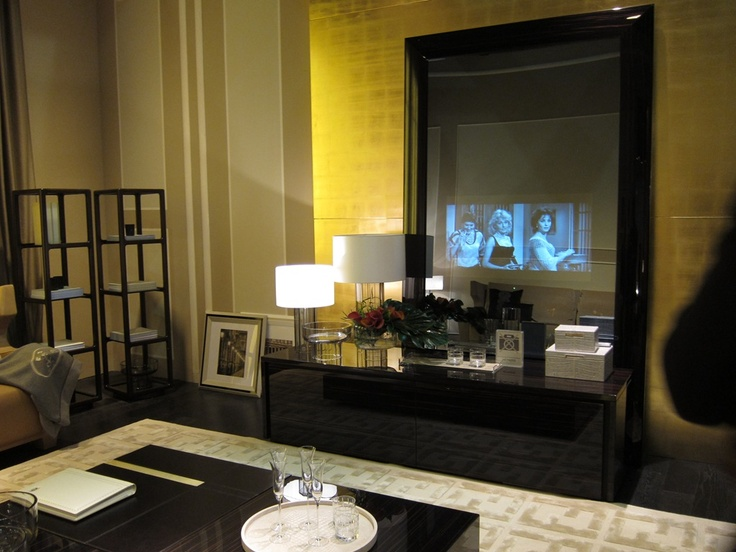 A TV incorporated into a mirror in the Fendi showroom. Maison et Objet 2012