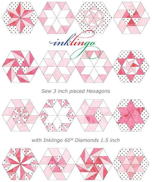 Inklingo pieced hexagons Inklingo: Hexagons with Linda Franz