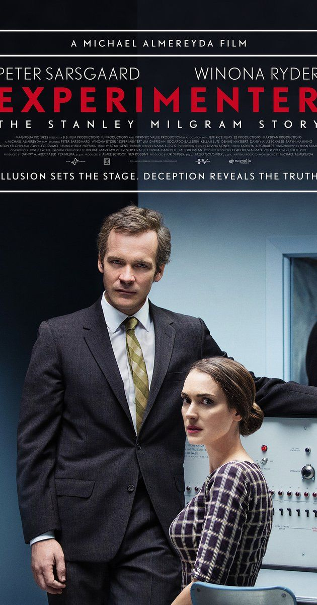 Directed by Michael Almereyda.  With Winona Ryder, Taryn Manning, Peter Sarsgaard, Anton Yelchin. Famed social psychologist Stanley Milgram, in 1961 conducted a series of radical behavior experiments that tested ordinary humans willingness to obey authority.