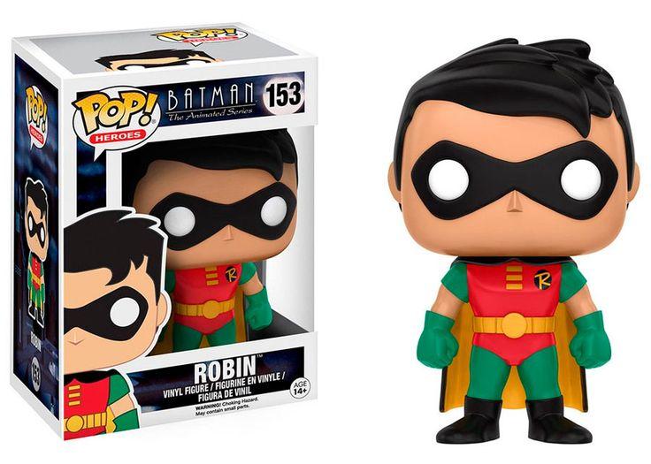 Cabezón Robin 9 cm. Batman: la serie animada. Línea POP! Heroes. DC Cómics. Funko  Estupendo cabezón del personaje de Robin de 9 cm, el eterno ayudante y amigo de Batman y que aquí lo puedes ver tal y como aparece en la exitosa serie de TV titulada Batman: la serie animada, fabricado en vinilo de alta calidad y 100% oficial y licenciado. Es sin duda un artículo ideal como regalo para cualquier fan.