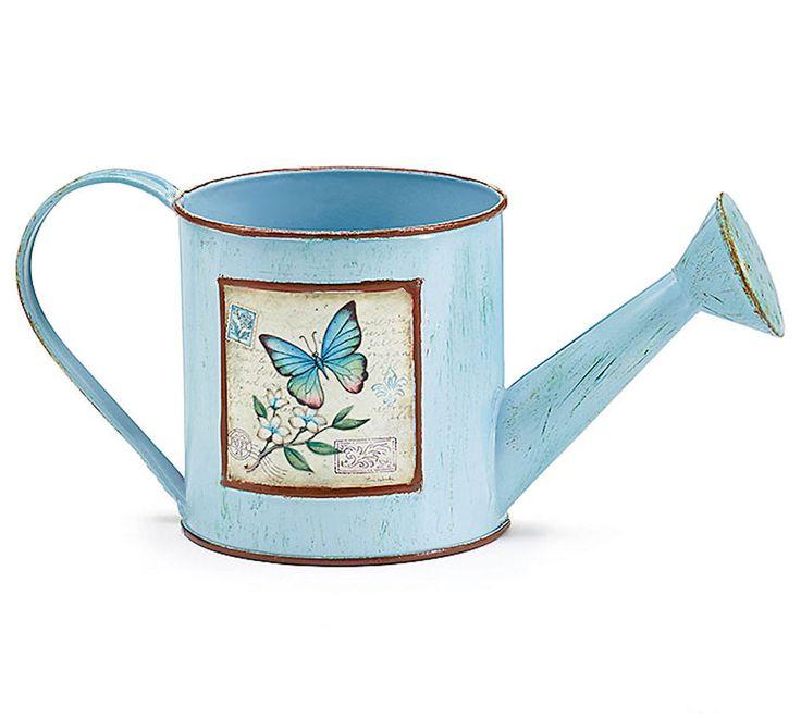 New Blue Tin Miniature Watering Can Planter Mariposa Garden burton+BURTON #burtonBURTON