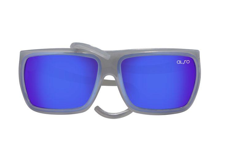 SQUARE - Transparent Gray with Blue Lens