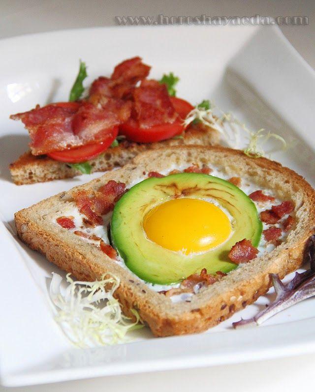 Бутерброд к завтраку с авокадо и яйцом