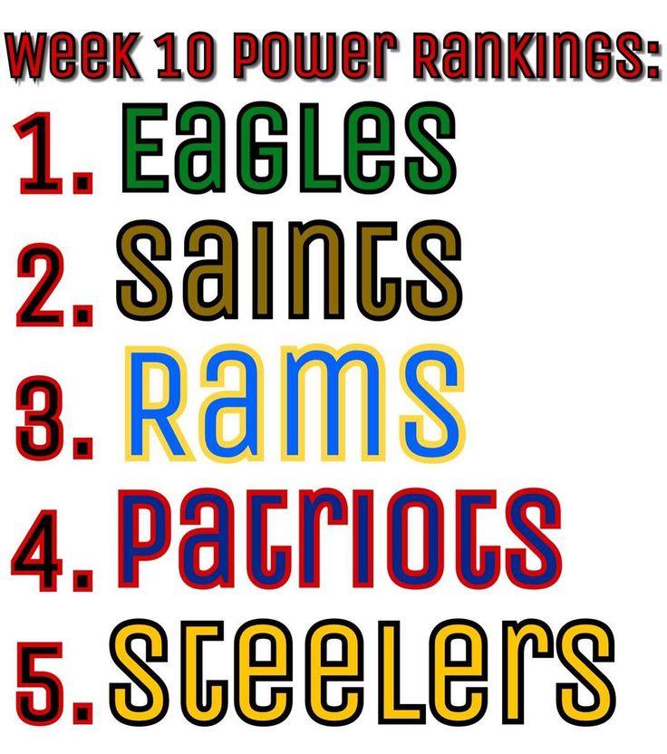 Your Week 10 NFL Power Rankings #Philadelphia #Eagles #PhiladelphiaEagles #NewOrleans #Saints #NewOrleansSaints #LosAngeles #Rams #LosAngelesRams #LARams #NewEngland #Patriots #NewEnglandPatriots #Pittsburgh #Steelers #PittsburghSteelers #NFL #PowerRankings #Week10