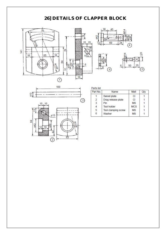 Assembly And Details Machine Drawing Pdf แบบงาน In 2019 Drawings