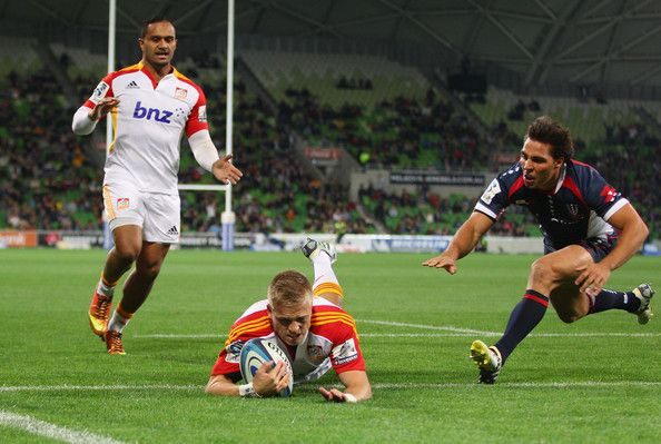 Gareth Anscombe of the Chiefs scores his teams first try during the round 12 Super Rugby match between the Rebels and the Chiefs at AAMI Park on May 3, 2013 in Melbourne, Australia.
