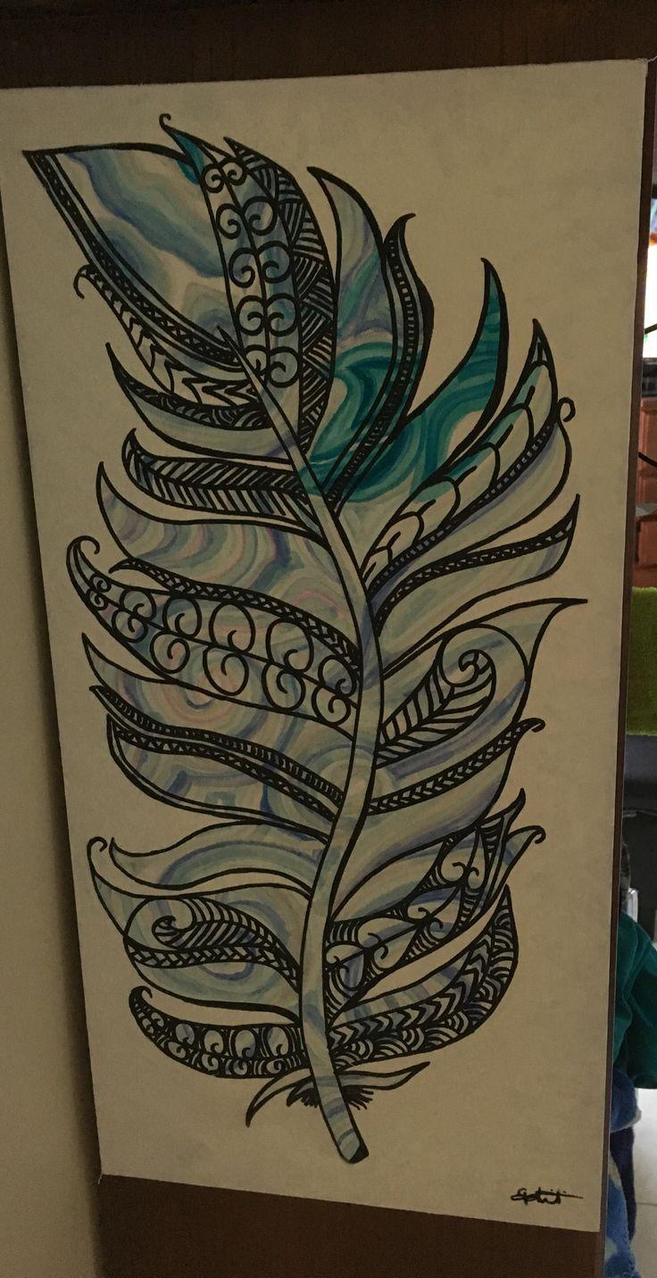 Canvas feather kiwi / Maori  design. Made by Genie Sheri
