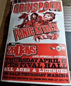 GRINSPOON. 2 Sheet Concert Tour Poster. PANIC ATTACK TOUR 2003 with 28 DAYS band. 152 x 102cm. Brisbane.  Click Pic to find in eBay Store.