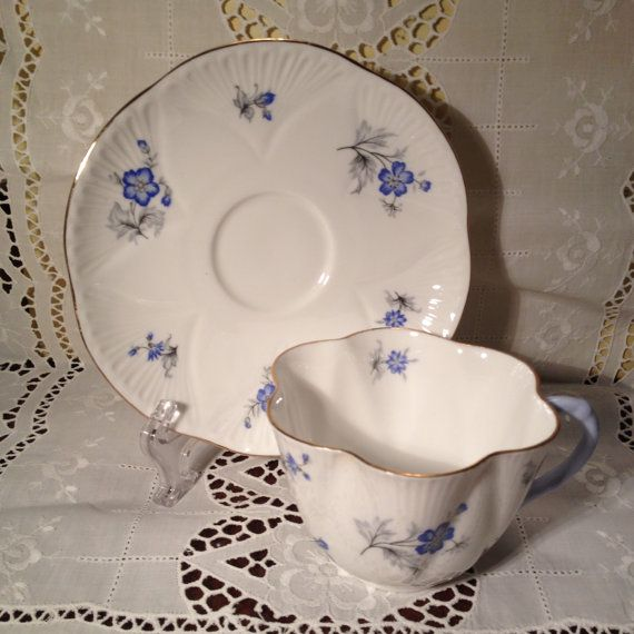 Vintage Shelley Fine Bone China Tea Cup and Saucer Set Made in England Blue Poppies Ludlow Style 1950s