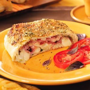 Fontina Ham Stromboli: Food Recipes, Taste Of Home, Hams, Pesto Stromboli, Ham Stromboli Soooo, Stromboli Recipe, Ham Dinners, Breads Rolls, Fontina Ham Stromboli